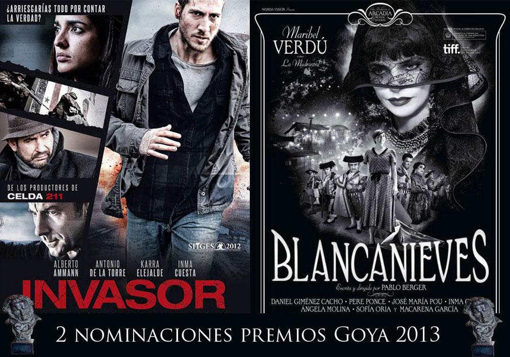 """Carteles de """"Invasor"""" y """"Blancanieves"""" respectivamente, nominadas a los mejores Efectos especiales en la XXVII edición de los premios Goya."""